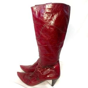Hispanitas Oasis Red Leather Cowboy Style Boots